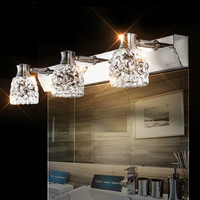 Fashion mirror light led brief modern mirror glass bathroom wall lamp crystal stainless steel mirror cabinet lamp