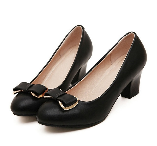 2015 Elegant Confortable Women Shoes Brief Thick Low Heel Work Shoes High  Heels for Women Bow Black Nude Cheap Shoes Wholesale 653bb1558c