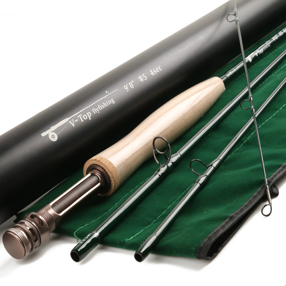 Maximumcatch V-top 9054 SK carbon fly fishing rod 9ft 5 weight 4 section with Aluminum tube Fly rod