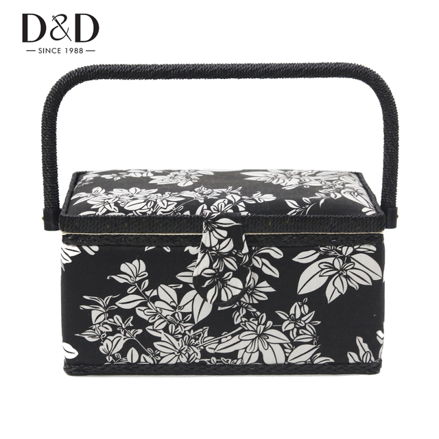 D&D New Handmade Fabric Crafts Sewing Basket with Free Gift Black ...