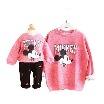 Familia juego ropa de otoño juego madre hija ropa sudaderas con capucha de dibujos animados de moda de marca de la madre y la hija ropa rosa