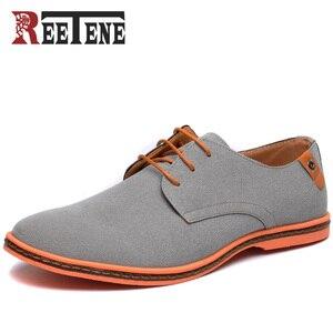 Image 1 - Мужские повседневные туфли Reetene, коллекция 2020 года, мужские модные туфли, удобные летние туфли на плоской подошве, Модель 38 48