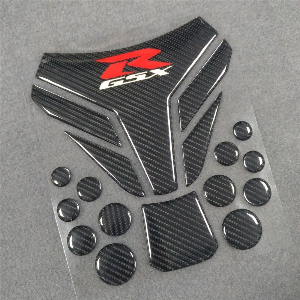 3D Motorcycle For Suzuki GSXR 600 750 1000 K1 K3 K4 K5 K6 K7 K8 K9 K10 GSR750 Fuel Tank Pad Reflective carbon fiber bone black