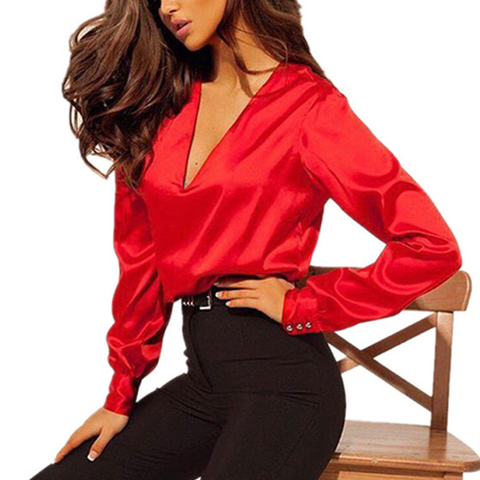 Women Fashion Blouse Long Sleeve Satin Blouse Vintage V Neck Street Shirts Elegant Top Solid Ladies Red Pink Business Shirts Hot Multan