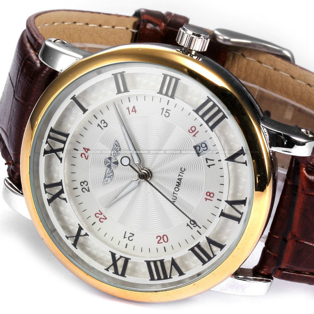 Rome Number Fashion Men WINNER Top Brand Gold Sport Wristwatches Self wind Automatic Mechanical Calendar Leather Rome Number Fashion Men WINNER Top Brand Gold Sport Wristwatches Self wind Automatic Mechanical Calendar Leather Watch Clock