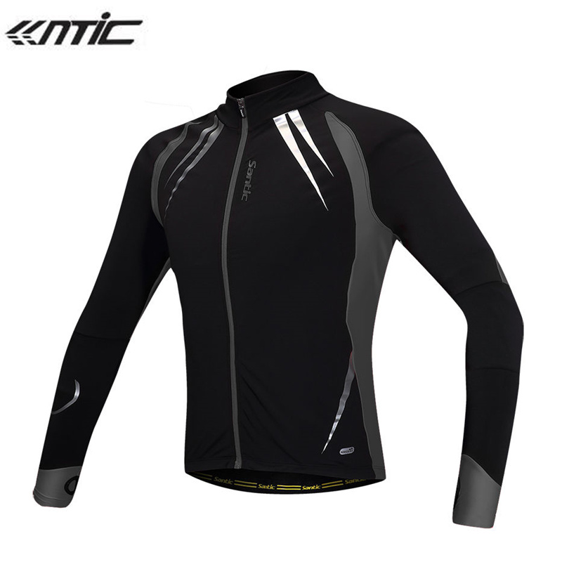 SANTIC Winter Running Fleece Thermal Long Sleeves Jersey Windproof Hiking Outdoor Sport Jersey Bike Anti Shrink