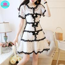2019 summer Japanese style small fragrance lady temperament slim slimming lace dress