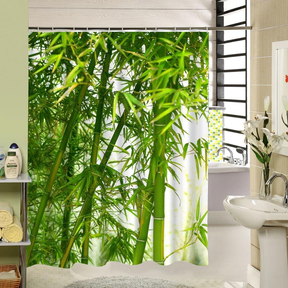 For T Rideau De Douche Vert Bambou Zen Motif Polyester Tissu
