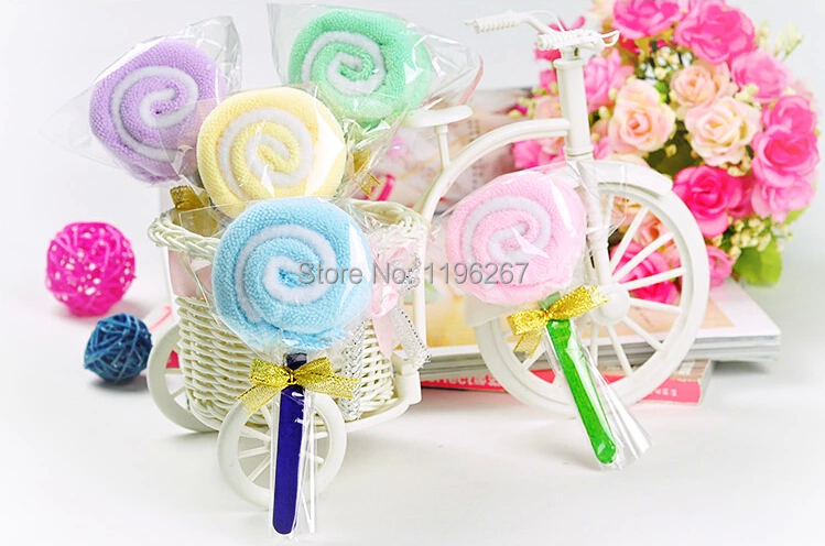20PCS lollipop cake towel kids birthday party gift baby shower favors souvenirs supply