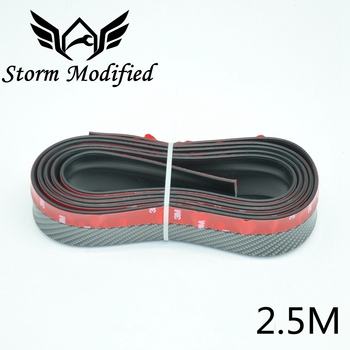SuTong 2.5M Carbon Fiber Rubber Lip Skirt Protector Car Scratch Resistant Rubber Bumpers Car Front Lip Bumpers Decorate image