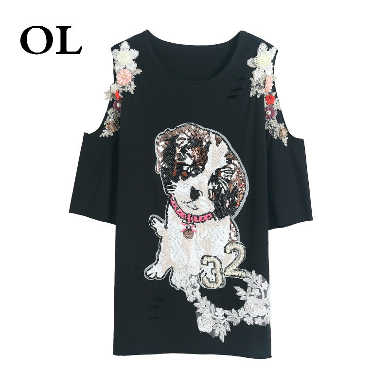 [OL] Cartoon Dog Pattern Shirt 2018 Summer Tops Off Shoulder Long Shirt With Sequin Appliques Loose Shirt For Women S988