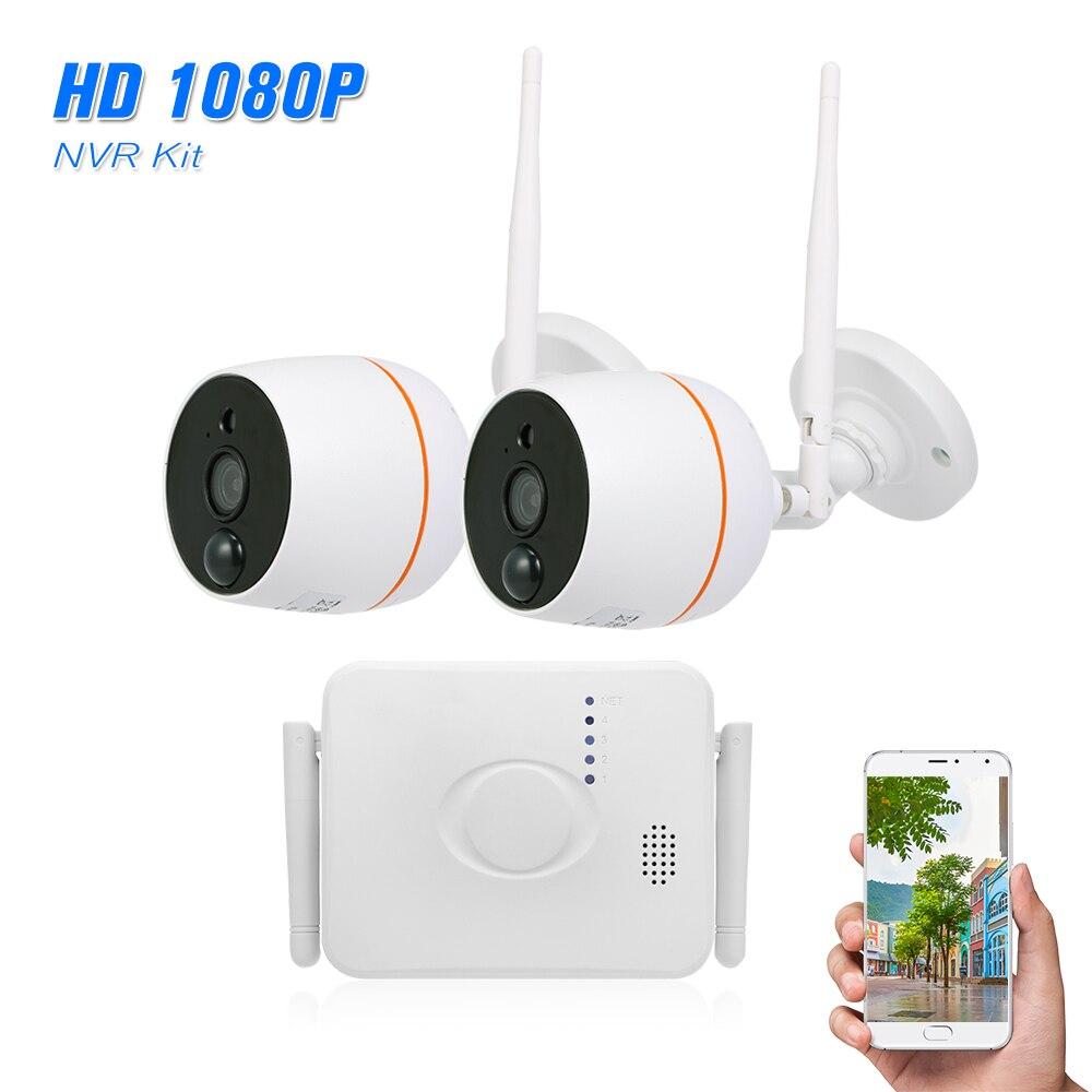 4CH Wifi Mini NVR Kit de vigilancia de vídeo 2 piezas 1080 P cámara IP inalámbrica conjunto de Audio PIR detección de movimiento impermeable control remoto-in Sistema de vigilancia from Seguridad y protección on AliExpress - 11.11_Double 11_Singles' Day 1