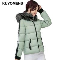 KUYOMENS החדש 2017 קצר דק בגדי נשים מעיל חורף Parka מעילים חמים מעיל חורף מעיל נשי כותנה מעיילים לנשים