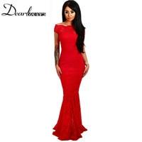 Dear Lover White Bardot Lace Fishtail Maxi Dress Summer Short Sleeve Off Shoulder Retro Lace Dress