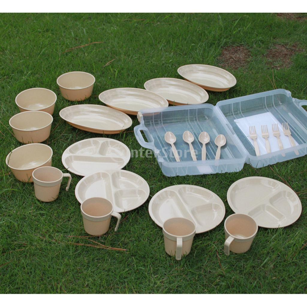 Food Grade Reusable Outdoor Party Picnic Camping Tableware Set 4 Mugs 4 Soup Bowls 4 Spoons 4 Forks 8 Plates Magideal 24pcs
