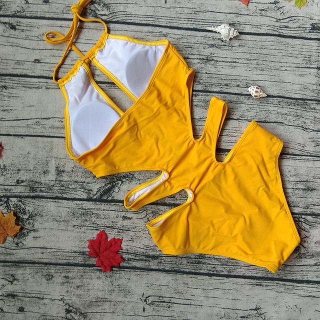 Sexy Swimwear Women 2016 Solid Yellow One Piece Swimsuit Hollow Out Cross Bathing Suit Monokini Bodysuit Swim Suit Beachwear