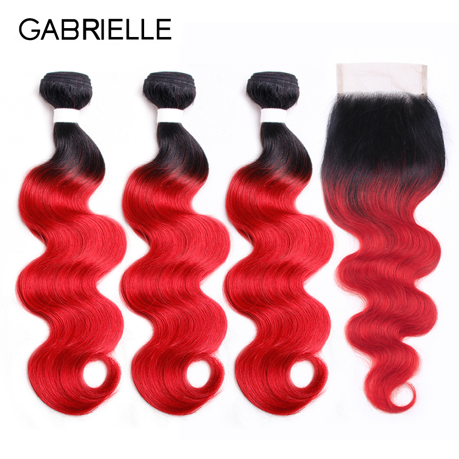 Gabrielle Brazilian Body Wave Human Hair 3 Bundles with Lace Closure 4 pcs/lot Free Part OT 130 Red Non-Remy Ombre Hair Weaving