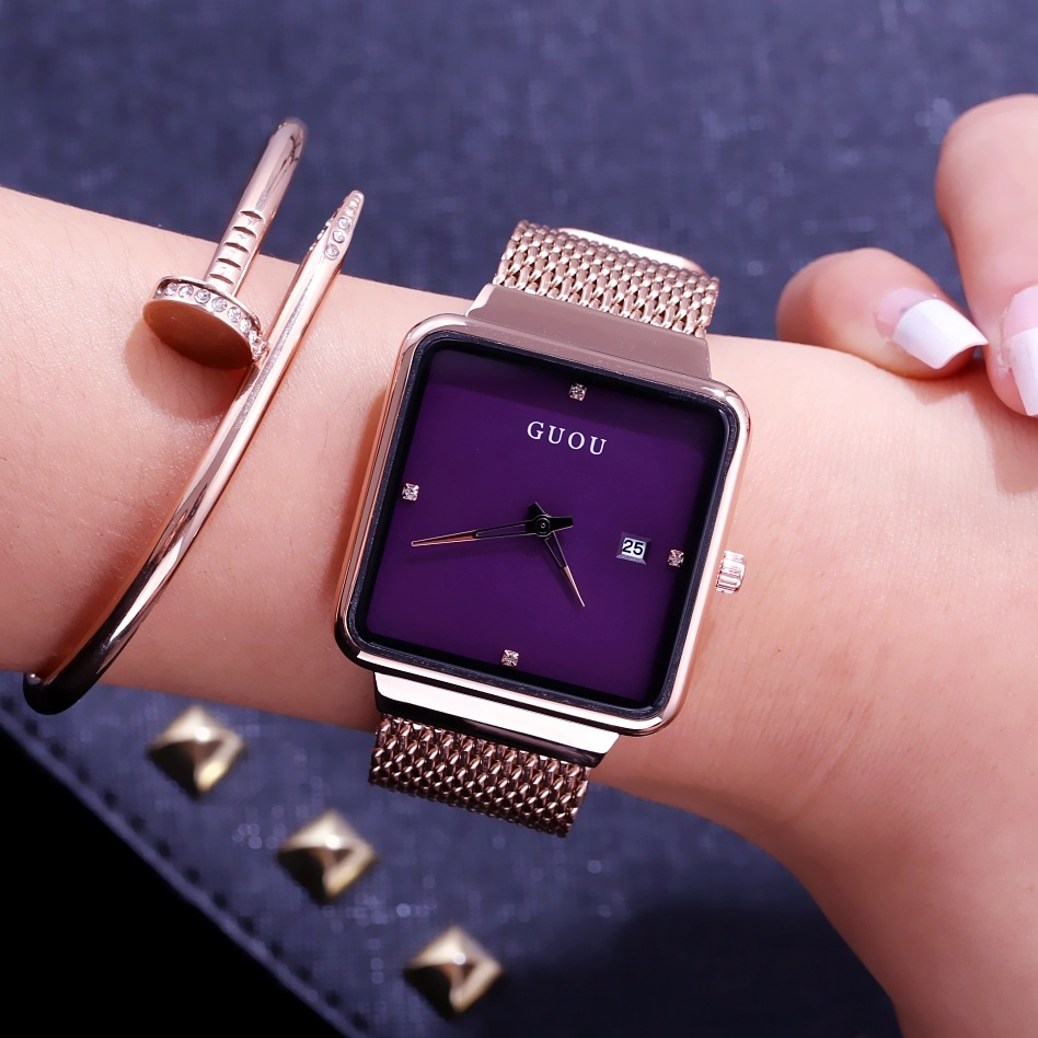 Fahion Luxury Guou Brand Female Large Dial Square Luxur Rose Gold Mesh Steel Ladies Casual Watches Calendar Quartz WristWatches