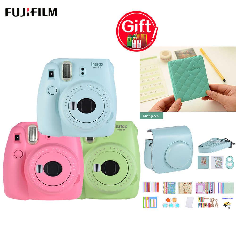 Fujifilm instax mini 9 instax câmera + 14 em 1 acessórios de câmera instantânea mini 8 9 instax bolsa de caso da câmera + 36 bolsos álbuns