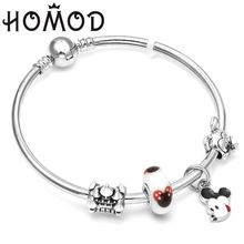 HOMOD 2019 New Carton Animal Charm Bracelets with Mickey Beads Fits Brand Bracelet For Loves Gift Dropshipping