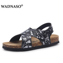 WADNASO Man Fashion Cork Sandals 2019 New Men Casual Summer Beach Gladiator Buckle Strap Shoe Flat with Plus Size 35-43