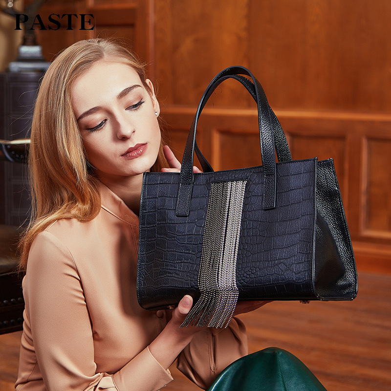 2018 New Silver Beads Tassel Design Women's Handbag Genuine Cow Leather Crocodile Pattern Female Shoulder Bag Brand PASTE Tote new arrival ship pattern design brooch for female