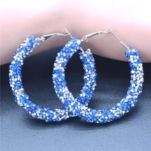 Bright Silver Hoop Earrings for Women Blue Crystals Circle Hoops French Buckle Earring Fashion Jewelry