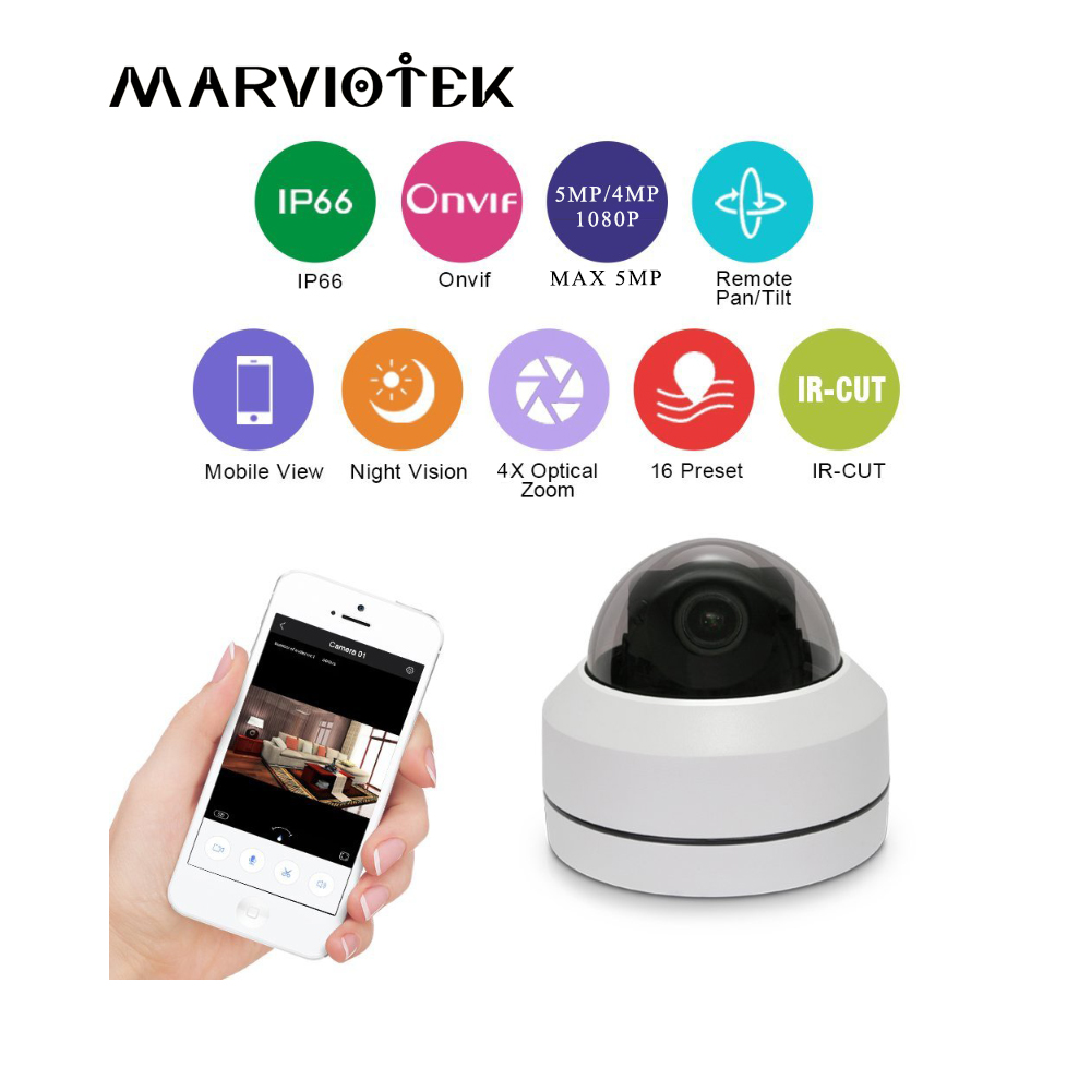Mini PTZ IP Camera Outdoor HD 5MP VandalProof 2MP Home Security CCTV Cameras PTZ 4X Motorized Zoom IR P2P Speed Dome Camera full hd ip camera 5mp with sound dome camera ip cam cctv home security cameras with audio indoor cameras onvif p2p
