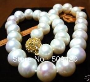 Free ShippingGenuine 10-11mm SOUTH SEA AAA WHITE PEARL NECKLACE 18