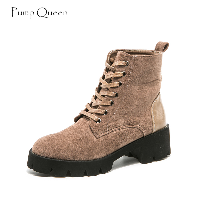 PumpQueen 2019 Spring New Ankle Boots Women Lace Up Round Toe Solid Shoes Woman Winter Fashion Comfortable Martin Boots Female кинг стивен история лизи isbn 978 5 17 095170 3