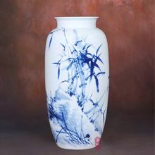 ceramic blue flower vase painted Huang Xiaoling Zhutu fashion Chinese classical Home Furnishing living room decoration