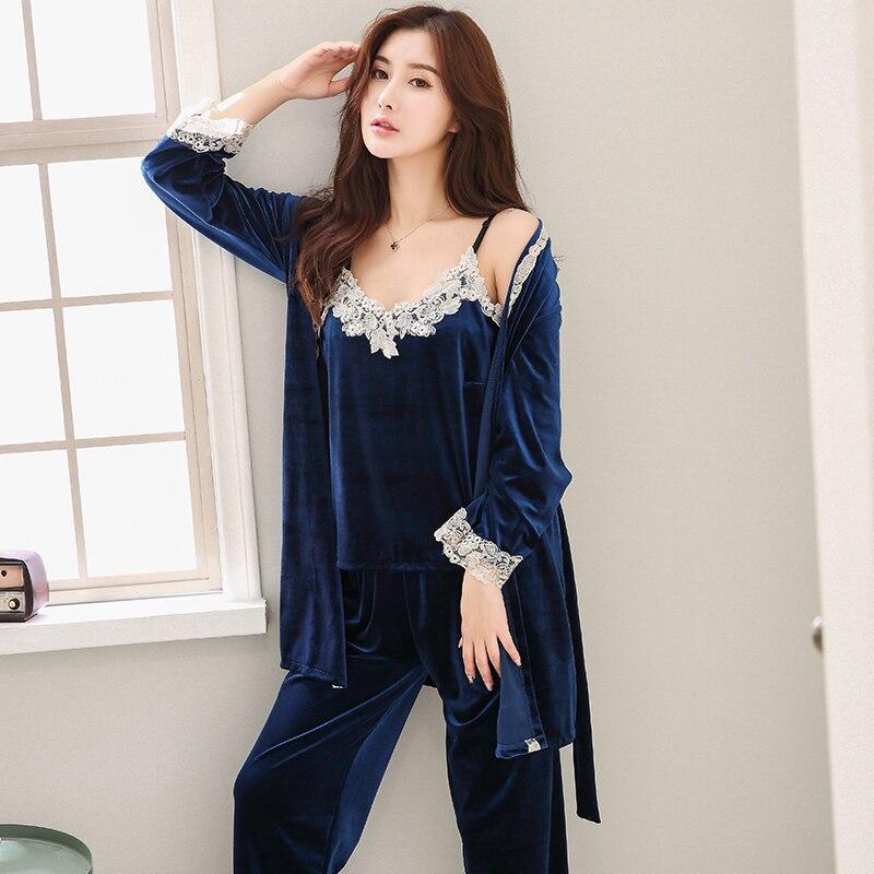 Winter Female long Sleeve 3 piece   set   Family clothing Velvet   Pajama     Set   For Women Casual Pijama Girls Pyjama winter clothing