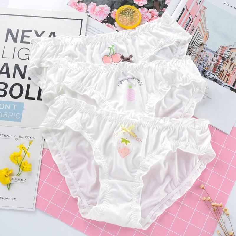 New Milk Silk Imitation Satin Silky Soft Women Underwear Low Waist Ruffle Female Panties Cute Lovely Sweet Girl Breifs Lingerie