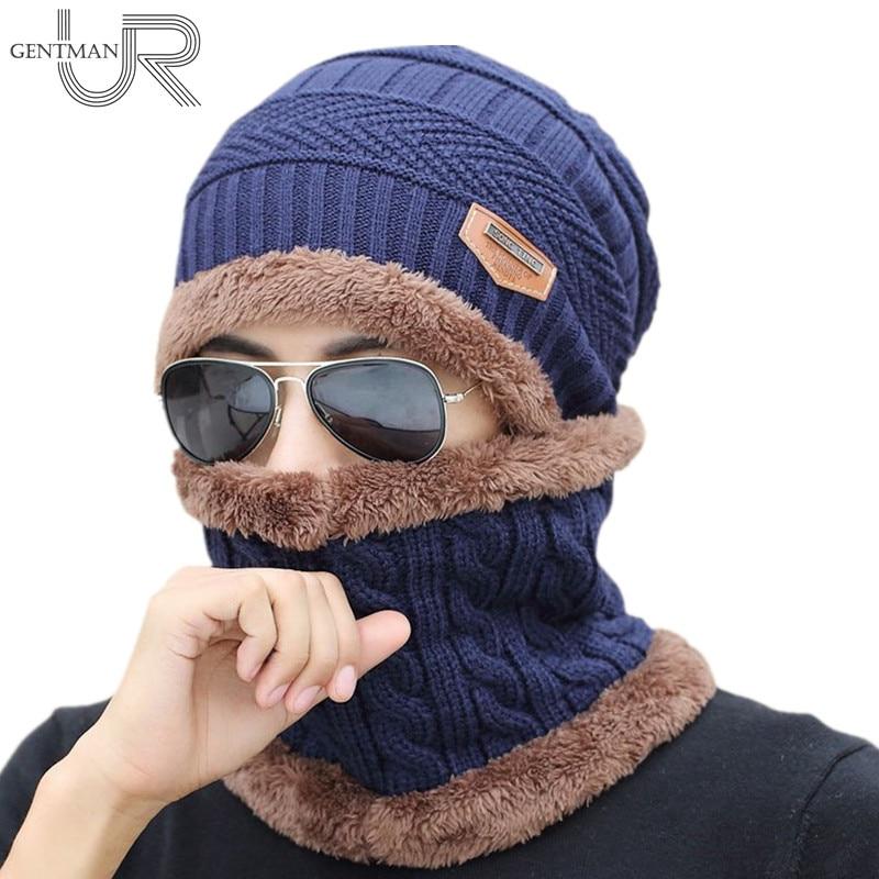 Unisex Gestrickte Hut Und Hals Wärmer Kragen Mode Künstliche Pelz Winter Hut Für Frauen Und Männer Warm Acryl Beanies