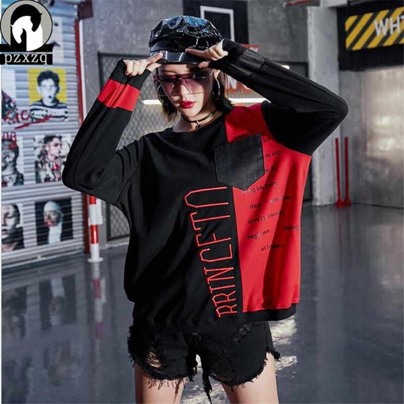 Marque chinoise Design printemps 2019 nouveau col rond à manches longues t-shirts pull couture Denim couture Patch contraste couleur T-shirt