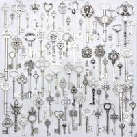 80PCS/pack Tibetan silver Mixed Charms Key Shape Pendant Charms for Jewelry Making DIY Handmade Decoration Key Charms