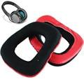 2Pcs/Set Soft Replacement Ear Pads Headband Cushion Black & Red Earpads for Logitech G35 g930 G430