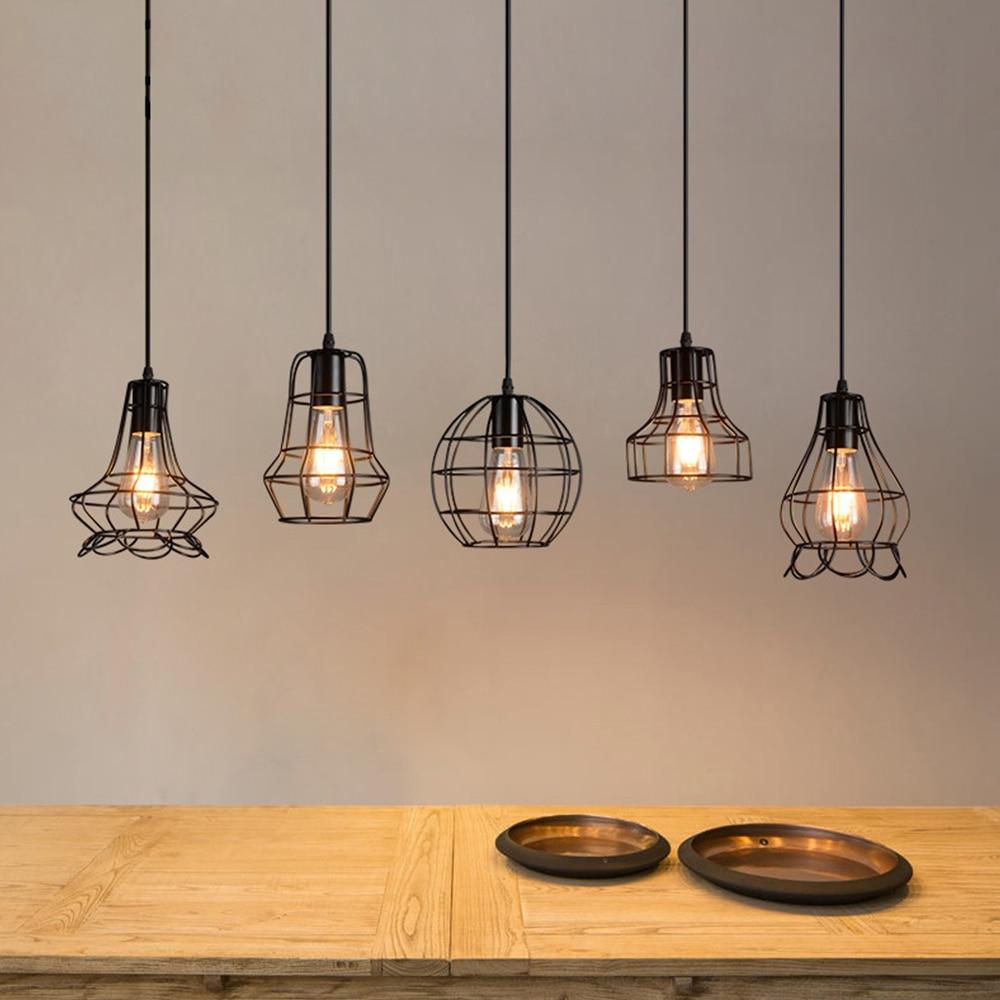 Pendant Lights American Country Lamps Vintage Loft Industrial Warehouse Lighting for Restaurant/Bedroom Home Decoration Black