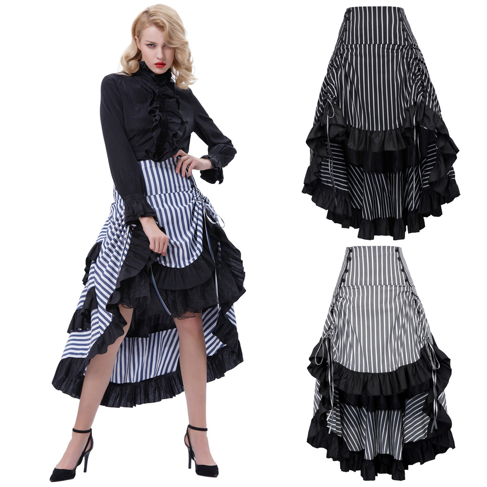 Retro Women/'s Gothic Victorian Steampunk Skirt Ruffle High Low Lace Dresses
