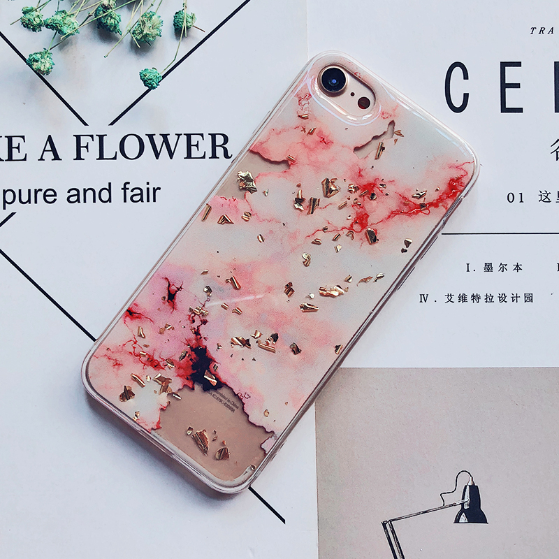Luxury Gold Foil Bling Marble Phone Cases For iPhone X 10 Cover Hole Soft TPU Cover For iPhone 7 8 6 6s Plus Glitter Case Coque (17)