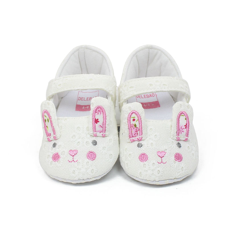 Delebao Spring/Autumn New Design Infant Toddlers Baby Girl Lovely Rabbit Hook & Loop Soft Sole Baby Shoes wholesale