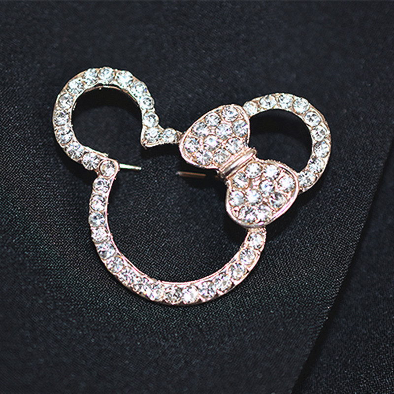 Bow Brooch Crystal Mouse Brooches Female Rhinestones Corsage Accessories fashion jewelry badges pins scarves deduction|Brooches|   - AliExpress
