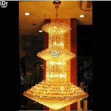 Emas Chandelier Modern minimalis kamar tidur lampu cahaya lampu kristal hotel lampu lobi mewah besar 150 cm W x 250 cm H