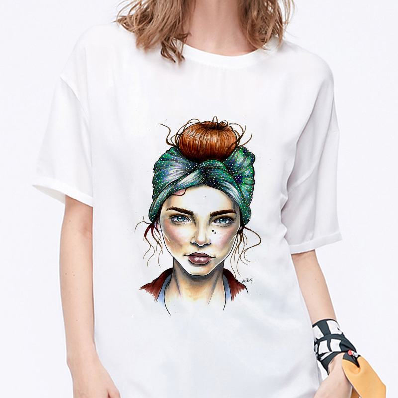 Summer 19 T shirt Women Harajuku Print Vintage Female Casual Fashion Tshirt O-neck Short Sleeve T-shirt White Tops Clothing 12
