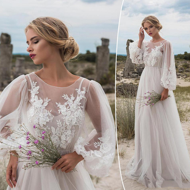 Moda Boho Suknie Ślubne Długie Rękawy Czeski Suknie Ślubne Aplikacje Tulle Piętro Długość Plaża Bridal Party Suknie Custom Made