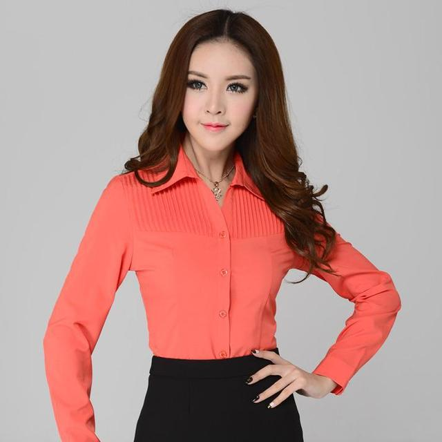 New 2015 Spring and Autumn Formal Women Shirts Long Sleeve