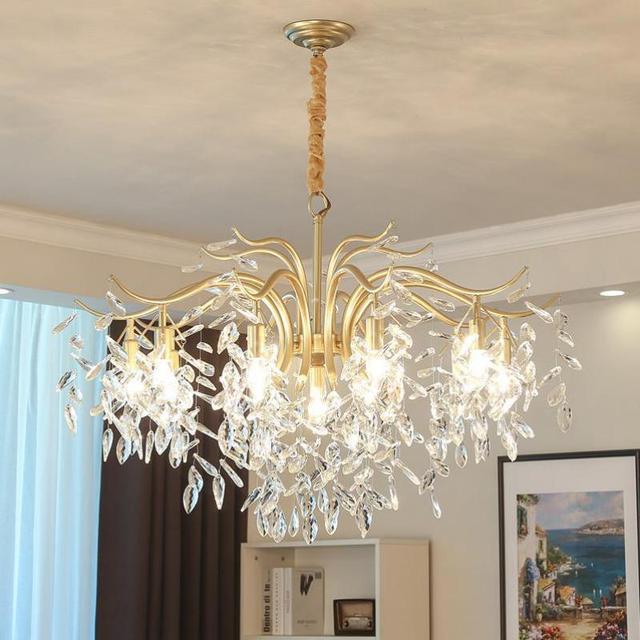 Home Golden crystal Chandelier lamp for dining Room Restaurant Lamparas Art  Village Bedroom Rural suspension light Luminaria