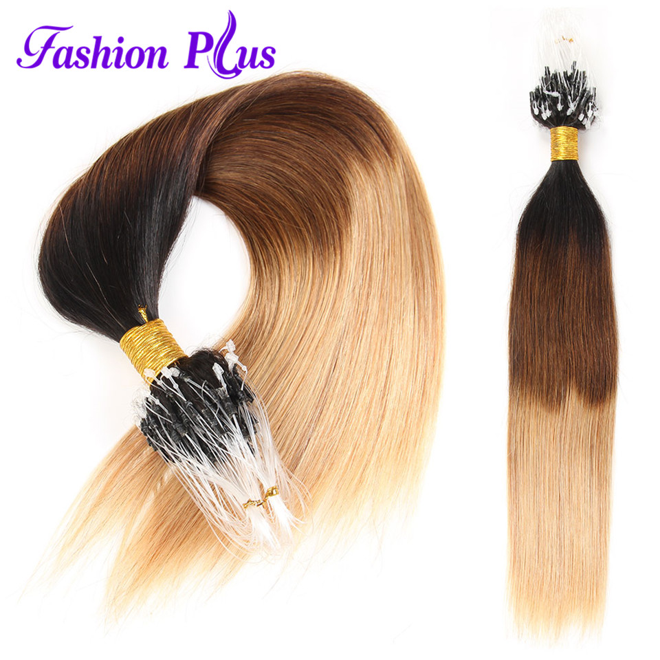 Hot Sale Indian Virgin Hair Stright 100strands Human Hair Weave Micro - Menneskehår (hvid) - Foto 4