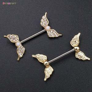 Starbeauty 2pcs/lot Angel Wing Nipple Piercing Mamilo Sexy Women Nipple Ring Body Jewelry Cute Fake Nipple Cover Pircing Gift