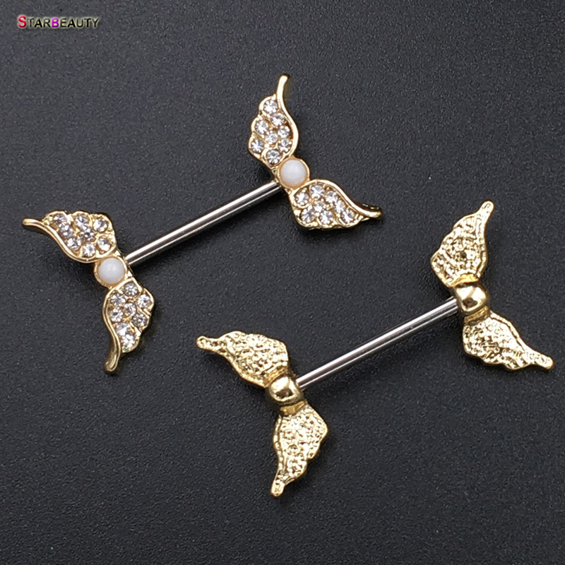 Starbeauty 2pcs Lot Angel Wing Nipple Piercing Mamilo Sexy